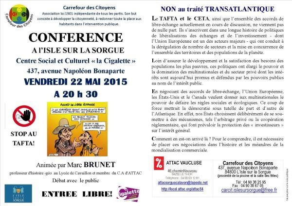 debat avec marc BRUNET 22 MAI  2015 flyer 2