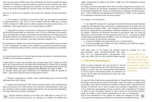 CETA et OGM (résumé)